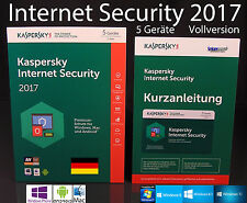Kaspersky Internet Security 2017 Vollversion 5 Geräte Box + Handbuch PDF OVP NEU