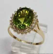 Halo Peridot Ring Size 9.5 New ListingVintage 14k Gold Fine Diamond