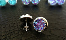 Unicorn Druzy Crystal Cabochon Silver Plated Stud Earrings