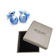 Enlace de cadena para hombre ejecutivo Gemelos Bebé Azul Ojo de Gatos por el arte Onyx