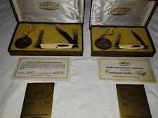 Rare Set Camillus Cutlery 100th Anniversary 2 & 3 Blade Numbered Pocket Knives