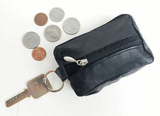 Black Leather Men's Small Zip Coin Change Holder Front Pocket Key Ring Purse