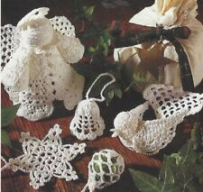 Christmas Tree Decorations Crochet Pattern Snowflake Angel Bell Dove Bauble 887