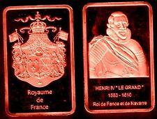 ★★ MAGNIFIQUE LINGOT PLAQUE CUIVRE ● ROI DE FRANCE ● HENRI IV ★★