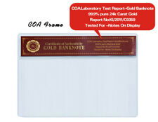 WR Gold Banknote COA Sleeve Certificate Currency Money Holder PVC Frame 16 x 9CM