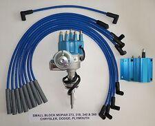 MOPAR 273-318-340-360 BLUE SMALL Cap HEI Distributor,50K COIL & Spark Plug Wires