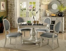 4p Set Side Chairs Gray Upholstered Seat Round Back Antique White Wood Frame Leg