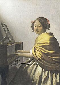 Kunstkarte: van Delft - Junge Frau, am Spinett sitzend