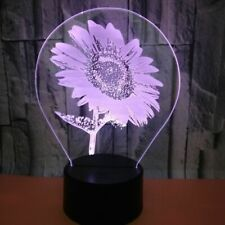 3D Sunflower Night Light 7 Color Change LED Desk Lamp Touch Room Decor Gift