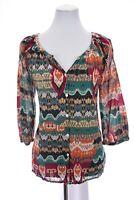 Lucky Brand Button Up Shirt Tunic Top Gauze Cotton Tribal Print Sz Large