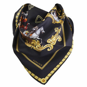 Sciarpa Foulard Versace Western Cowboy MADE IN ITALY 90x90 CM  seta donna ner...