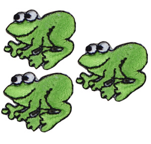 """Mini Frog Applique Patch - Amphibian Animal Badge 1"""" (3-Pack, Iron on)"""