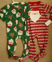 Carter's Christmas Santa Claus Footed Fleece Pajamas 2 Piece New 12 mo 18 mo 3T