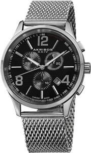 Akribos AK719SSB Swiss Quartz Chronograph Tachymeter Date Black Dial Mens Watch