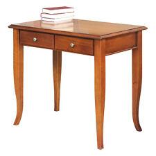 Petit bureau classique 2 tiroirs - Table bureau - Finition merisier