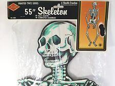 "Vintage Halloween Life Size Beistle Skeleton 55"" Jointed Die Cut 1980 Decoration"