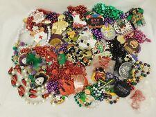 White Red Figural Mardi Gras Beads 11 Lbs + Pendant Beads