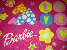OOP Bright Hot Pink  Glitter Barbie LOVE 2001 Mattel, Hearts Cotton Fabric BTY
