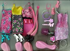 Tres Barbie Hairtastic Glam vestidos de Fiesta & Barbie Colour Me Glam Traje de menta