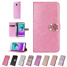Leather Glitter Stand Flip Card Wallet Case Cover For Samsung J3 J4 J6 J7 J8