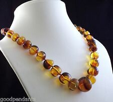 NEW DOMINICAN FOSSIL FREE-SHAPE RED AMBER PIECES SILVER NECKLACE PENDANT JEWELRY