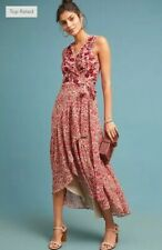 NEW Anthropologie Beaded Wrap Dress Size Small Red Floral