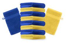 Betz Set di 10 guanti da bagno Premium misure 16 x 21 cm 100% cotone giallo e bl