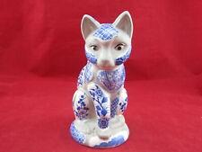 New listing Vintage Nancy Lopez 1981 Blue & White Tile Cat Ceramic Mosaic Candle Holder