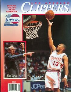 1993-94 Los Angeles Clippers Official Team Yearbook Mark Jackson on Cover