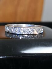 Victorian Solid 18ct White Gold 0.60ct Diamond Eternity Ring Size M-1/2