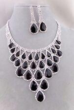 Crystal Jet Black Rhinestone Necklace Set Silver Fashion Jewelry NEW Stunning