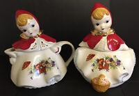 Matching Set Of 2 1940s/50s Little Red Riding Hood Poppy Teapot And Cracker Jar