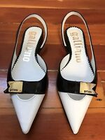 NEW john galliano leather slingback flats white black patent pointed 36 6 ITALY