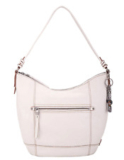 The Sak Sequoia Genuine Leather Hobo Handbag Stone / white MSRP $159 NWT