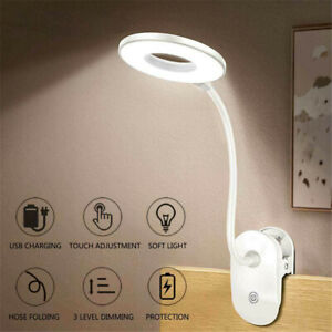 Flexible USB Dimmable LED Reading Light Clamp Clip On Bed Table Desk Lamp Gift