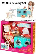"18"" Doll LAUNDRY ROOM SET Washer+Dryer+Ironing for American Girl Our Generation"