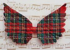 100! Angel & Fairy Wings - Red Tartan & Felt WIng Embellishments 7cm/2.5""