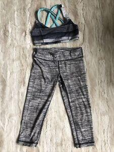 Lululemon Ivivva Girls Athletic Pants Leggings Gray And Bra Sz 8 Set Lot