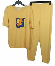 After Shock X-Large Womens Causal Sports Wear Pullover Top Pants Yellow Sun
