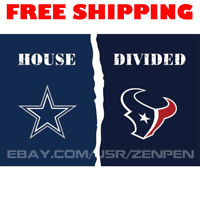 Dallas Cowboys vs Houston Texans House Divided Flag Banner 3x5 ft NFL 2019 NEW