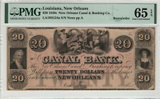 1840 $20 NEW ORLEANS CANAL BANK LOUISIANA OBSOLETE REMAINDER PMG GEM UNC 65 EPQ