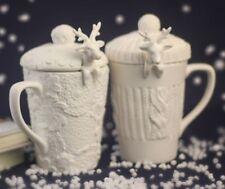 Ceramic Reindeer Mugs: Hand made with Lid/Spoon: Christmas, Coffee, Tea, Santa