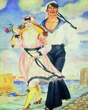 Sailor and His Girl 1920 - Boris Kustodiev Art Man Woman Romance 8x10 Print 0531