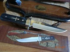 "11"" SHARPS CUTLERY FIXED BLADE KNIFE 3CR13 S.S. BLACK HARDWOOD HANDLE WITH CROSS"