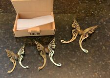 Vintage New 80's Homco Home Interiors Brass Butterflies W/Wood Wall Accents