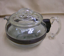Vintage Pyrex Flameware 8126-B Glass Coffee / Tea Pot Blue Tint Clear Lid