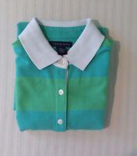 NWT Tommy Hilfiger XS Teal Green Wide Stripe Women's Short Cap Sleeve Polo Shirt