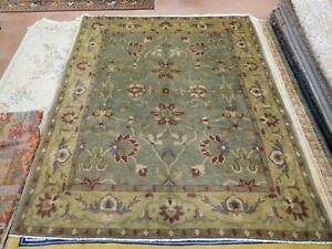 Modern Tibetan Nepalese Rug  8'x9'10'' Carpet Olive green wool Handmade