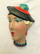 DECO STYLE WALL LADY FACE  PLAQUE ..CHALKWARE VERY STYLISED HAT