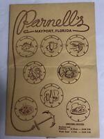 Parnell's Restaurant Menu Port Holes Mayport Florida 1947 3 Cent Jefferson Stamp